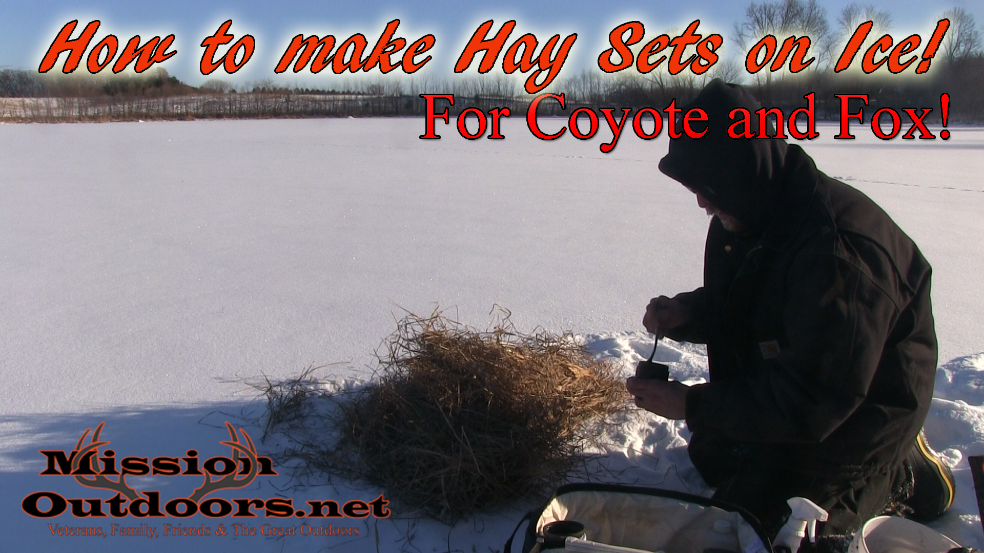 How to make Hay Sets on Ice for Coyotes and Fox
